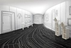 "At the Nendo Solo show in Taiwan, the ""think black lines"" and ""dancing squares"" collections were presented in a unique space designed specifically to compliment Oki Sato's work"