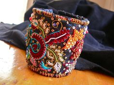 Luxe Leather Cuff with Embroidered Trim in Rich by bellabeadstudio