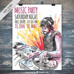 Hand drawn dj music party poster with watercolor splashes Music Flyer, Dj Music, Mockups Gratis, Event Poster Template, Girl Dj, Event Banner, Music Party, Retro Futuristic, Party Poster