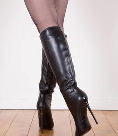 Thigh High Boots Heels, Knee Boots, Heeled Boots, High Heels, Leather Boots, Black Leather, 4 Inch Heels, Thigh Highs, Calves