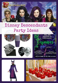 Disney Descendants Birthday Party Ideas and Supplies   Lots of Ideas and inspiration for decorations, invitations, cake, favors, games, food and more- Birthday Buzzin