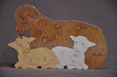 Ewe with Lambs Easter Sheep Animal Puzzle Wooden Toy by Puzzimals, $13.49