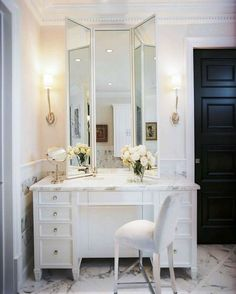 Master bathroom design with Visual Comfort Lighting Ruhlmann Single Sconce flanking white folding mirror over marble top makeup vanity paired with white vanity chair. Bad Inspiration, Bathroom Inspiration, Mirror Inspiration, My New Room, My Room, Rustic Makeup Vanity, Vanity Decor, Home Design, Design Ideas