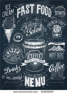 Fast food chalkboard design set – Stock Illustration # 42784845 - All About Blackboard Art, Chalkboard Writing, Chalkboard Lettering, Chalkboard Designs, Chalkboard Drawings, Chalkboard Ideas, Chalkboard Paint, Design Set, Cafe Design