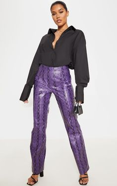 The Purple Snake Print Straight Leg Trouser. Head online and shop this season's range of trousers at PrettyLittleThing. Purple Snake, Snake Print Pants, Leather Joggers, Black Mules, Snake Design, Black Trousers, Purple Leather, Leather Material, Snake Print