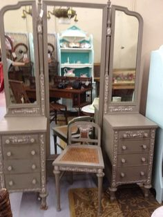 Vintage French Vanity/Dressing Table With Tri Fold Mirror And Side Chair