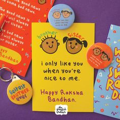 Cute and funny Raksha Bandhan card. We, as sisters, know how mean brothers can be but at the end we know they love us and will do anything to protect their dear sisters. Raksha Bandhan Photos, Raksha Bandhan Cards, Raksha Bandhan Wishes, Raksha Bandhan Gifts, Rakhi Wishes For Brother, Rakhi Gifts For Sister, Diy Rakhi Cards, Rakhi Quotes, Rakhi Greetings