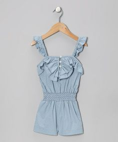 Take a look at this Blue Polka Dot Genevieve Romper - Infant & Toddler by 1/2 Pint on #zulily today!