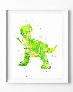 Disney Print, Toy Story Rex Print, Toy Story Party Printable, Dinosaur Print, Watercolor Painting, Playroom Wall Art, Kids Birthday Gifts