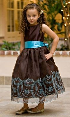 Girls Elegant Chocolate Brown Dress with Accented Turquoise Sash by EliteDresses Bridesmaid Flowers, Bridesmaid Dresses, Wedding Dresses, Turquoise Flower Girl Dress, Little Girl Dresses, Flower Girl Dresses, Girls Dresses, Chocolate Color, Chocolate Brown