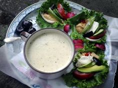 Parmesan-leek 'chowder' (w/goat cheese-hummus lettuce wraps) Spaghetti Pie, Baked Spaghetti, Red Pepper Hummus, Cooking Recipes, Healthy Recipes, Healthy Food, Roasted Red Peppers, Lettuce Wraps, Dressing Recipe