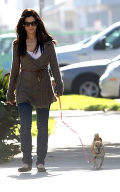 Sandra Bullock (Casual/cute) Walking her doggy in LA - 2/16