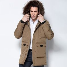 Men's Down Jacket Fur Collar Coat Stylish Winter Jacket Men Long Waterproof Green Parka Chaquetas Hombre Down Coat For Man