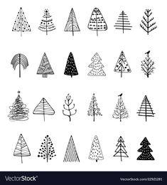 Christmas tree silhouette vector image on VectorStock Christmas Tree Sketch, Christmas Tree Silhouette, Christmas Tree Background, Christmas Doodles, Kids Christmas, Christmas Crafts, Christmas Ornaments, Xmas, Mery Chrismas
