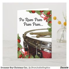 "This beautiful Drummer Boy Christmas Card features a lovely red snare drum and drum sticks, with caption Pa Rum Pum Pum Pum..."" What a great card for musicians and music fans! #drummerchristmas #snaredrum #drumsticks #drumjunkie"
