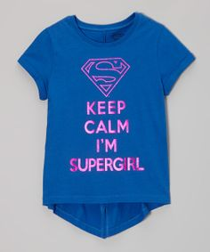 Blue 'Keep Calm I'm Supergirl' Tee - Girls | Daily deals for moms, babies and kids