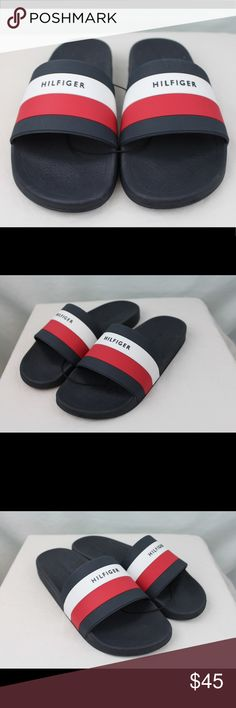 ❌SOLD❌ NEW! Tommy Hilfiger Mens Slides Big Box NEW Tommy Hilfiger big box logo slides ❗️ men's sandals in navy blue, red & white. Available in men's 9. Brand new, never been worn, new without box. Tommy Hilfiger Shoes Sandals & Flip-Flops