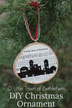DIY Christmas ornament using the carol O Little Town of Bethlehem, plus free printables of the song, Christmas carol ornament. #ornament #christmasornaments