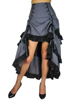 High Waist Long Black Gray Tiered Layered Skirt Bow Steampunk Pirate Goth 18 | eBay