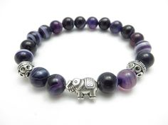 Sacred Elephant Healing Mala Bracelet Yoga Jewelry Purple Agate Wisdom Yoga Bracelet Medit... $24.95