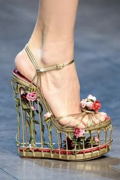Jaw drops - Birdcage shoes at Dolce & Gabbana