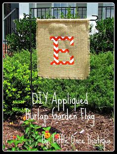 Quick Burlap Garden Flag With Chevron Applique, cute fall, halloween, and Thanksgiving decor!