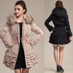 icecrystal: Size down down jacket rial fur belt high quality of superior grade fur outer coat black beige khaki go Japanese Agricultural Standards winter clothes which frill hem down coat Lady's long down coat fur raccoon with the raccoon fur has Rad Clothing, Long Down Coat, Global Market, Coats For Women, Winter Outfits, Ethnic, Fur Coat, Winter Jackets, Beige