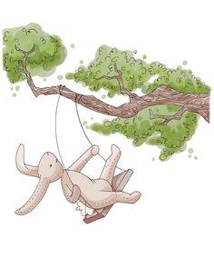 Bunny Swing Nursery Decor CHILDREN'S ART 8x10 by Meant4amoment, $12.00