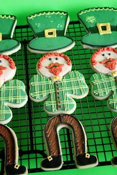 Cute leprechaun cookies from Life's A Batch.  A bit too labor-intensive for my tastes, but a darn cute idea!