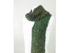 Hand Knit Olive Green and Black Ombre Scarf for Men or by ByTheBy