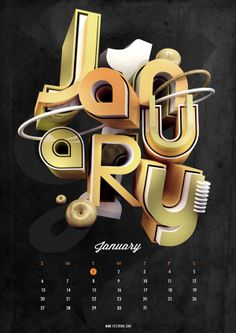 Type Calendar | 2013 by Ryan Ho, via Behance