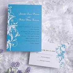 Cyan Wedding Invitation Suite - Modern Wedding Invites with Beautiful Floral Design - Cyan and White Wedding Invitations Cards EWI019