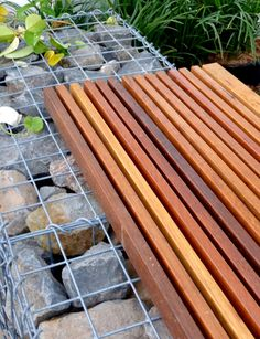 Gabion walls with timber bench.