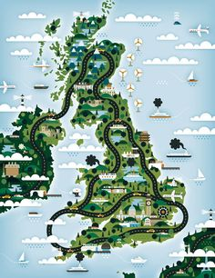 maptitude1:  A stylized car-themed map of the UK by Khuan+Ktron.