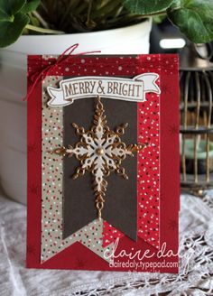Stampin Up Candy Cane Lane DSP and Star of Light stamp set in this 2016 Christmas Card  by Claire Daly Stampin Up Demonstrator Melbourne Australia at www.clairedaly.typepad.com