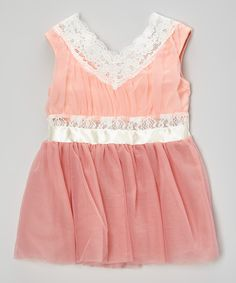 Look at this Just Couture Blush Lace Tulle V-Neck Dress - Infant, Toddler & Girls on #zulily today!