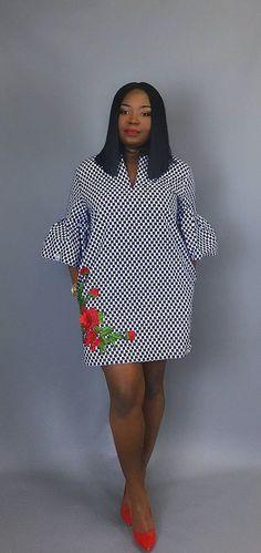Africaine robe imprimé à la main robe fleurie robe en Wax