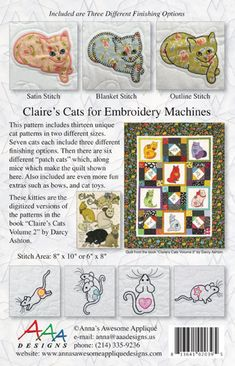 Digitized Claire's Cats Applique in the Hoop for | Etsy Applique Designs, Embroidery Designs, Cat Template, Cat Applique, The Quilt Show, Quilt Baby, Unique Cats, Blanket Stitch, Cat Pattern