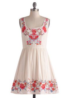 Judy Blue Skies Dress in Ivory, #ModCloth I dig the hippie vibe and the embroidery