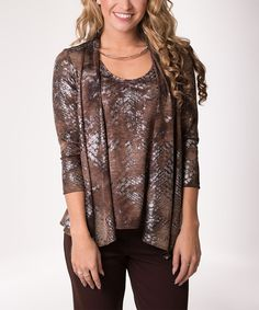 Brown & Gray Scale Abstract Layered Cardigan