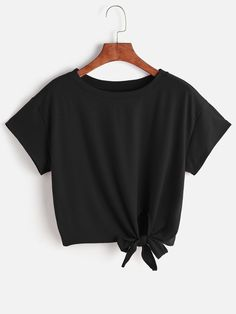 To find out about the Knot Front Crop Tee at SHEIN, part of our latest T-Shirts ready to shop online today! Girls Fashion Clothes, Teen Fashion Outfits, Mode Outfits, Girl Fashion, Girl Outfits, Fashion Black, Fashion Ideas, Fashion Dresses, Clothes Women