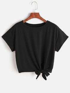 Tee-shirt avec un nœud en face -French SheIn(Sheinside)