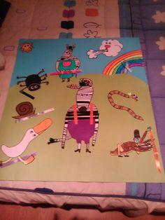 """Mural que hice para un cuentacuentos de """"La Cebra Camila"""" que realicé en las prácticas. Cada personaje tenía un lazo que luego se le daba a la cebra por lo que se podía despegar y pegar Infant Activities, Zebras, Book Crafts, Kids Rugs, Books, Baby, Toddlers, Decor, Short Stories"""