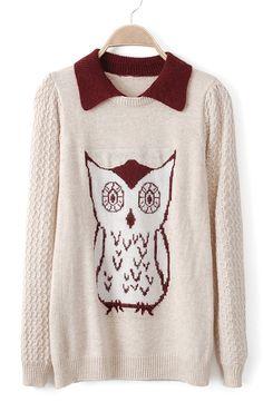 Beige Lapel Long Sleeve Owl Pattern Sweater - Sheinside.com