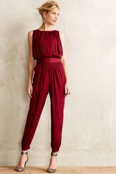 at Anthropologie Draped Garnet Jumpsuit - I wish I could pull these off!