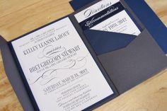 navy + grey wedding invitation