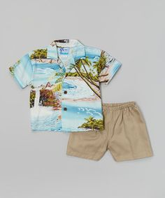 Love this Blue Tropic Island Button-Up & Shorts - Infant, Toddler & Boys by RJC Girls on #zulily! #zulilyfinds