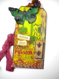 SOLD Altered Butterfly Tag Mixed Media Butterfly by TheAlteredDiaries
