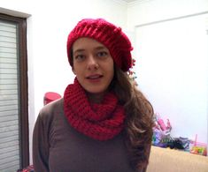 red crochet scarf / set crochet scarf beret / soft acrylic / infinity scarfs / warm hat / winter scarf / beret / handmade / crochet beret / crochet cap / red beret and scarf / Hats & Caps / etsy Crochet Winter Hats, Crochet Beret, Crochet Cap, Chunky Crochet, Crochet Scarves, Hand Crochet, Hat And Scarf Sets, Red Scarves, Handmade Clothes