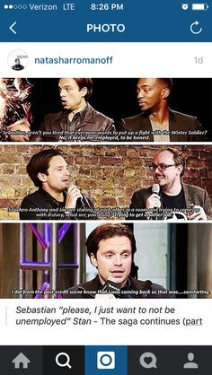 "He is so funny when he answers this type of question... ""What do you do in between the Marvel movies?"" ""Um...look for another job."""